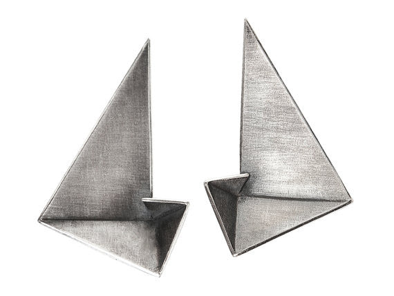 Sterling silver statement earrings in minimalist design