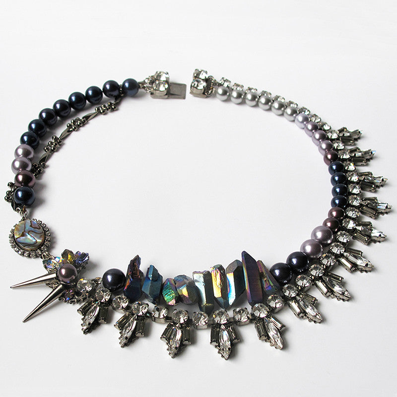 Bold gemstone necklace by independent London based designer HEITER.
