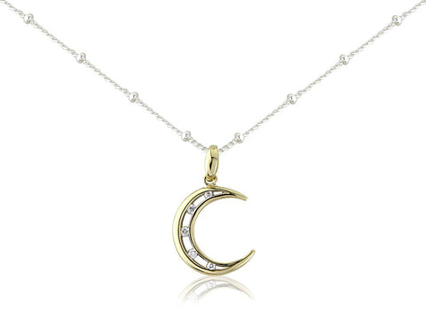 9ct Gold Crescent Moon Pendant with Diamonds