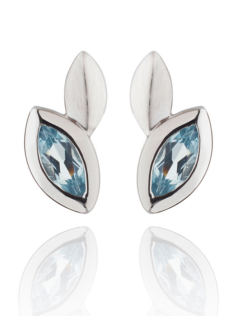 Nara Blue Topaz Sterling Silver Ear Studs by Manja - Art Jewellery Store: Song of Jewellery