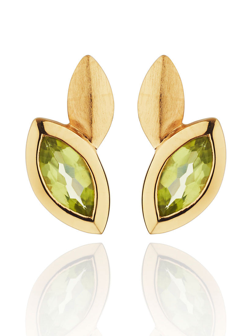 Nara Peridot Gemstone Ear Studs by Manja - Art Jewellery Store: Song of Jewellery