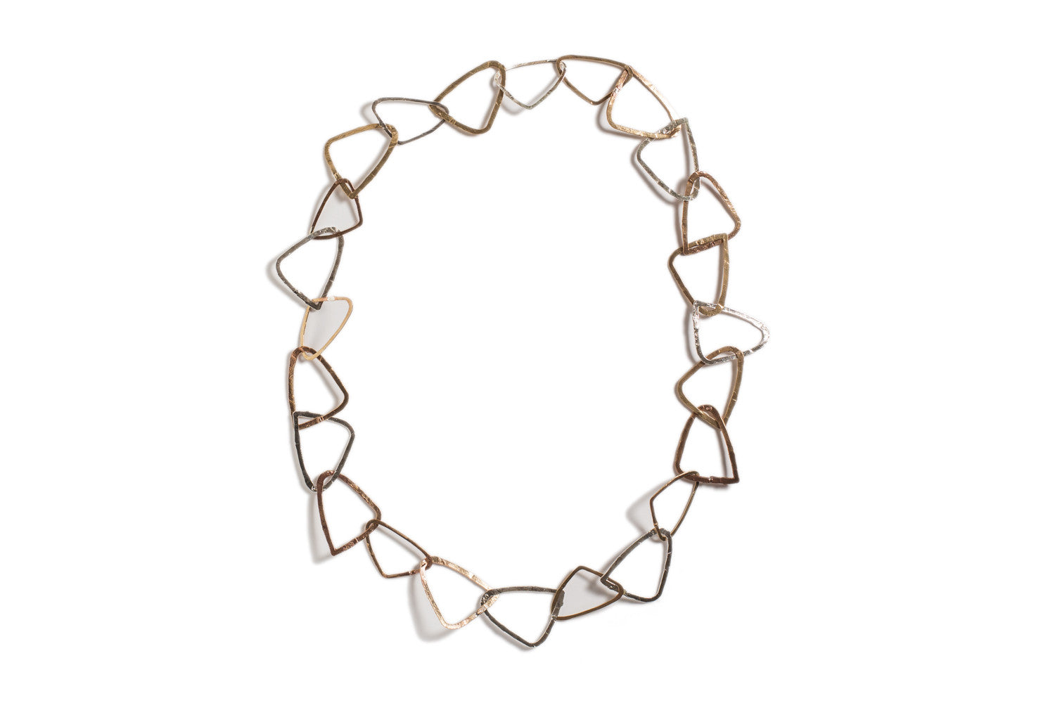 Triangle Necklace in Silver and Bronze