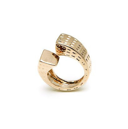 New York Skyscraper Ring in Gold Plated Bronze