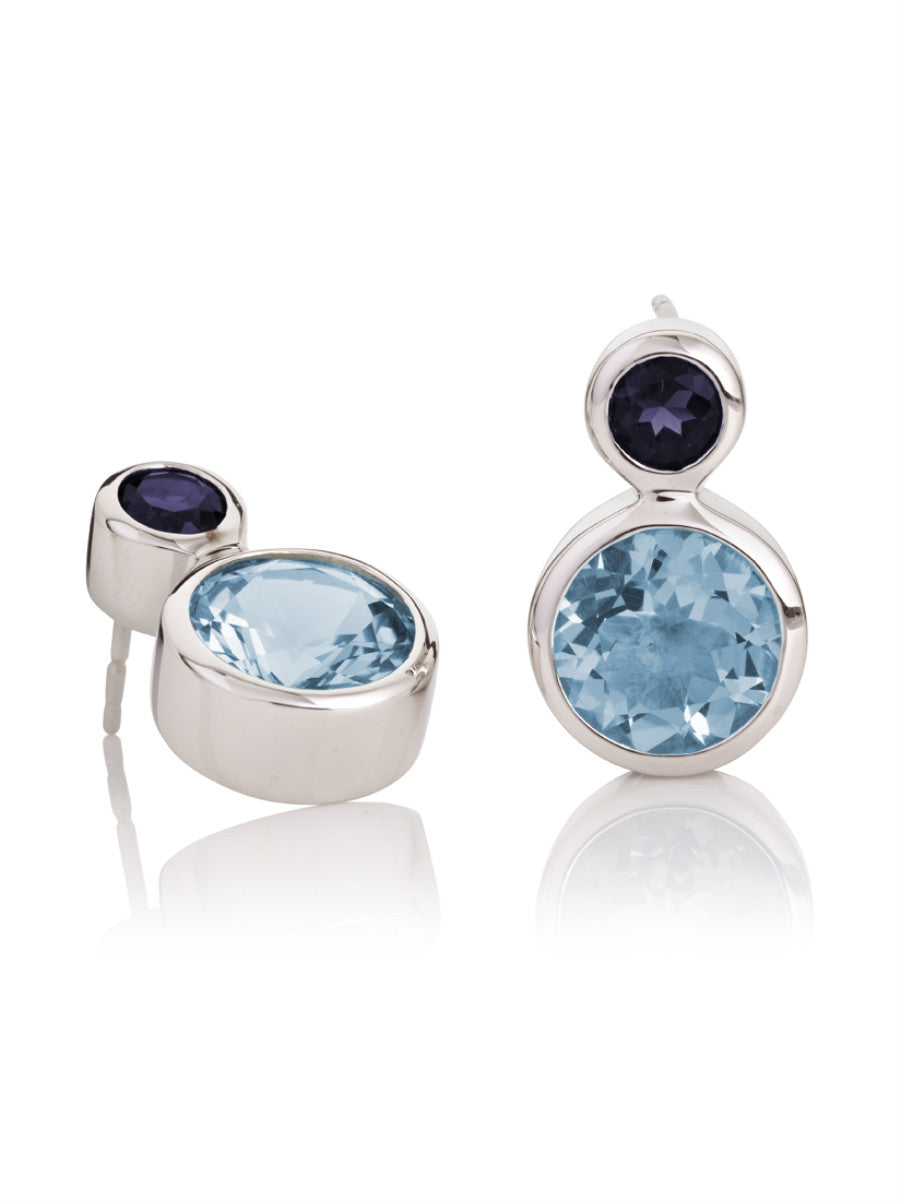 Lana Round Iolite & Blue Topaz Silver Ear Studs by Manja - Art Jewellery Store: Song of Jewellery