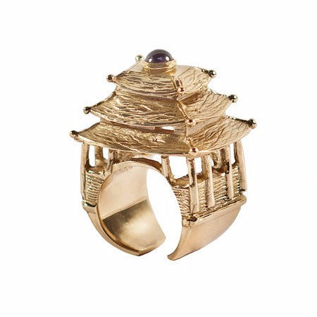 Pagoda Bold Ring In Gold or Silver
