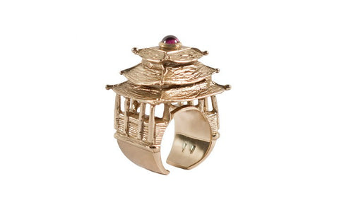 Pagoda Bold Ring In Gold or Silver by Co.Ro. Jewels - Art Jewellery Store: Song of Jewellery