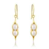 Gold Peapod and Pearl Earrings - Argent London | Song of Jewellery