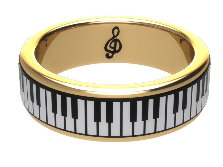 Yellow Gold Piano Ring by Sebastian Pintea - Art Jewellery Store: Song of Jewellery