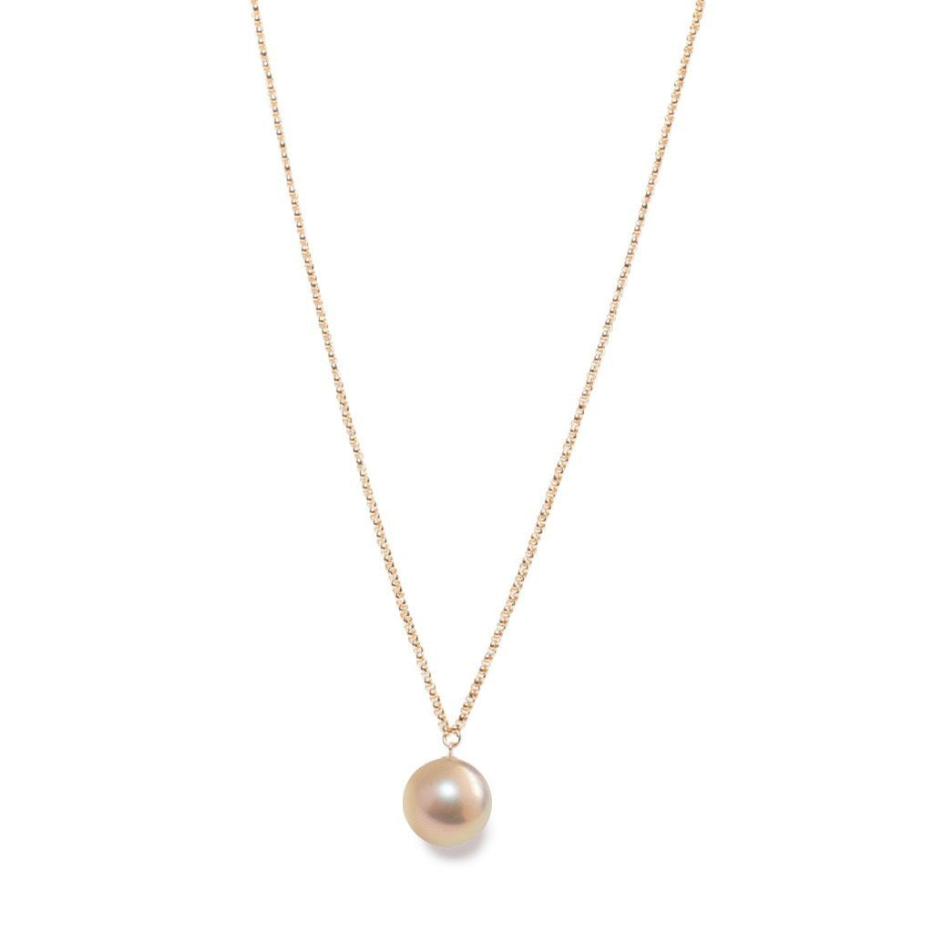 "Rose Gold Large Pearl Pendant on 35"" Long Necklace 