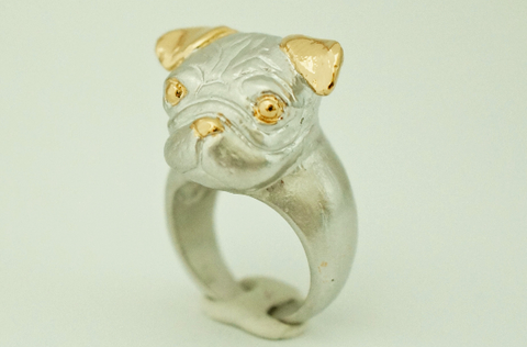Posh Pug Ring by Monvatoo - Art Jewellery Store: Song of Jewellery