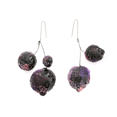 Purple Multi-Spheres Art Earrings by Cleopatra Cosulet - Art Jewellery Store: Song of Jewellery