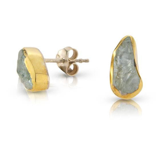 Rough Cut Aquamarine Gold Stud Earrings by Argent London - Art Jewellery Store: Song of Jewellery