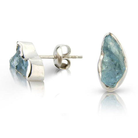 Rough Cut Aquamarine Silver Ear Studs