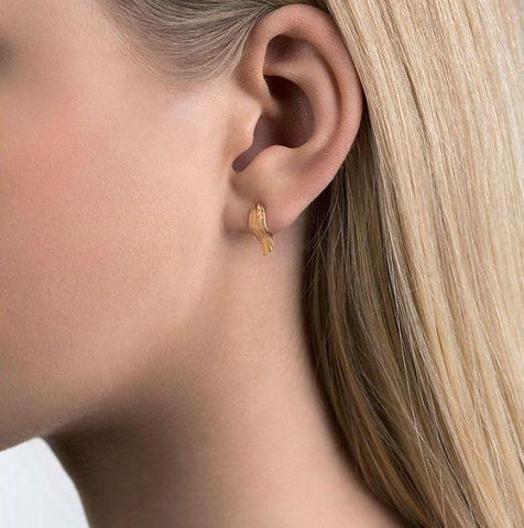 Gold Feather Ear Studs by Aurum - Art Jewellery Store: Song of Jewellery
