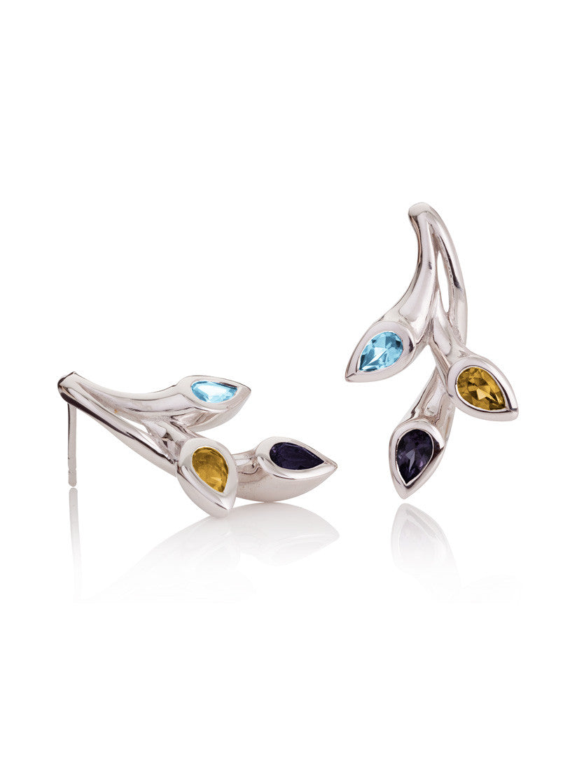 Rhodium plated sterling silver earrings set with a sparkling Iolite, a Blue Topaz and a Citrine.