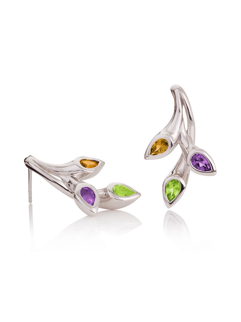 Rhodium plated sterling silver earrings set with a sparkling Peridot, a Citrine and an Amethyst.