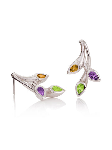 KAZO Silver Mixed Gemstone Earrings (PCA)