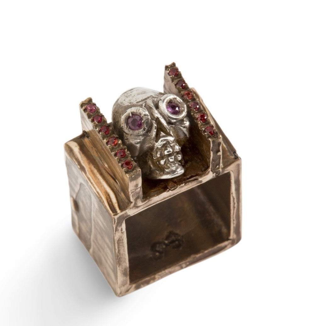 Skull Square Ring by Simone Vera Bath - Art Jewellery Store: Song of Jewellery