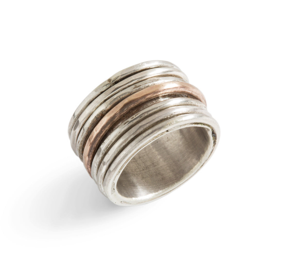 Bronze and silver chunky ring