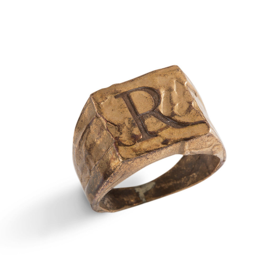 Seal Ring with Roman Characters in Silver or Bronze