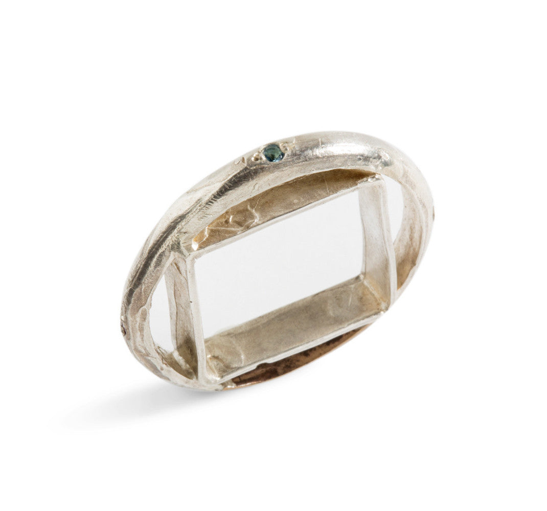 Square Ring in Circle in Silver or Bronze