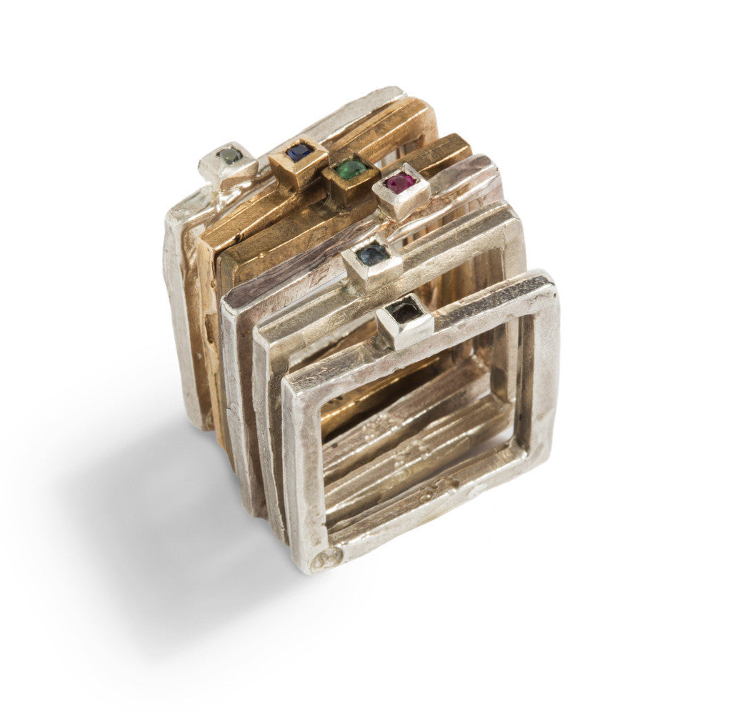 Friends Square Ring in Silver or Bronze by Simone Vera Bath - Art Jewellery Store: Song of Jewellery