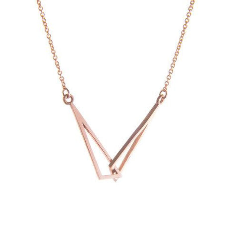 Rose Gold Flare Linked Necklace by Miriam Wade - Art Jewellery Store: Song of Jewellery