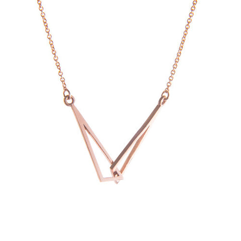 Rose Gold Flare Linked Necklace