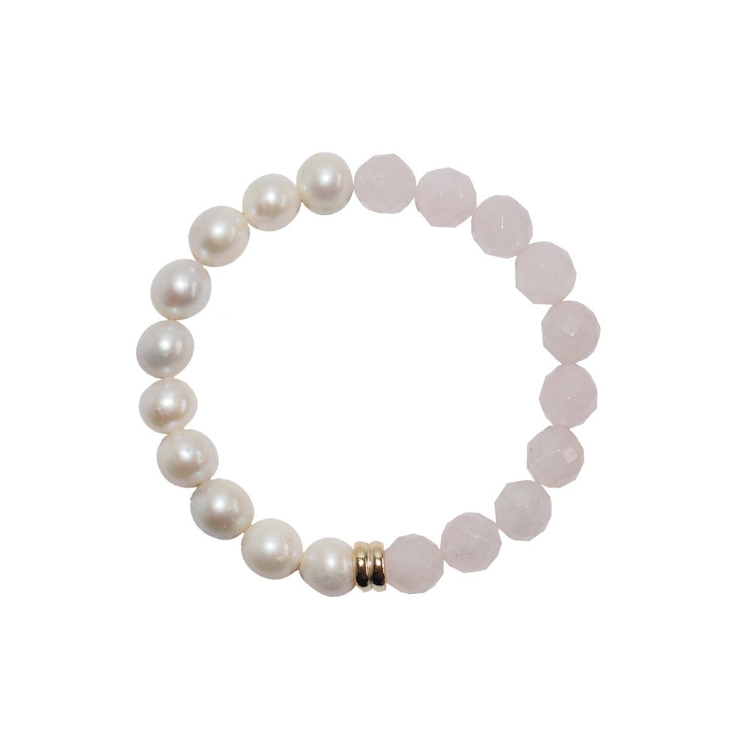 Contemporary take on the classic pearl bracelet: Orbis Pearl & Rose Quartz Bracelet by British designer ORA Pearls