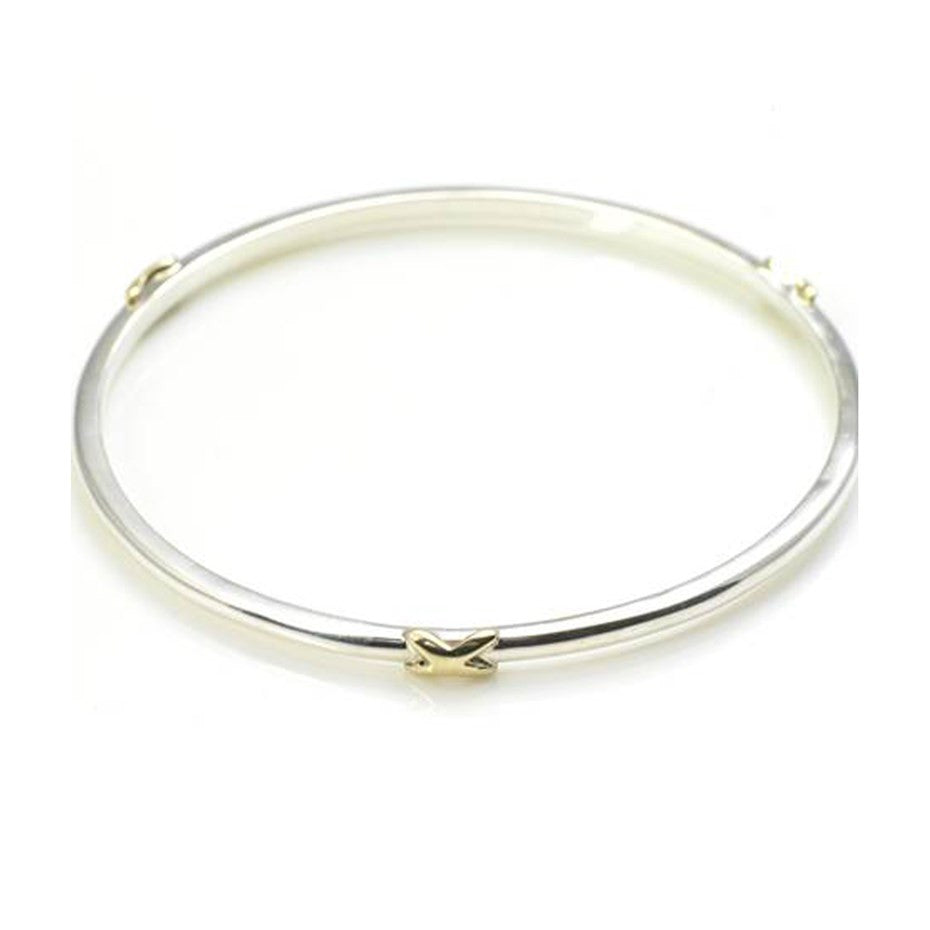 Sterling Silver Bangle With Three Gold Kisses by Argent London - Art Jewellery Store: Song of Jewellery