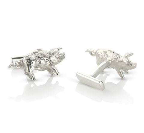 Sterling Silver Pig Cufflinks by Argent London - Art Jewellery Store: Song of Jewellery