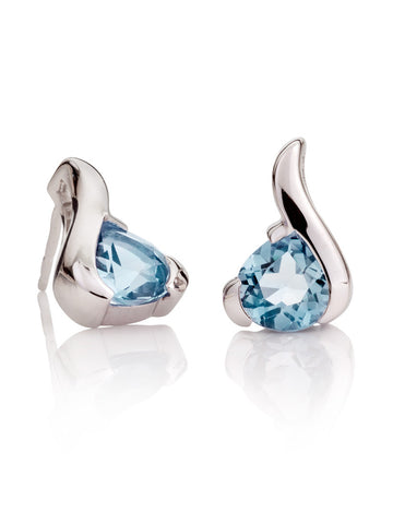 Sensual Blue Topaz Gemstone Earrings