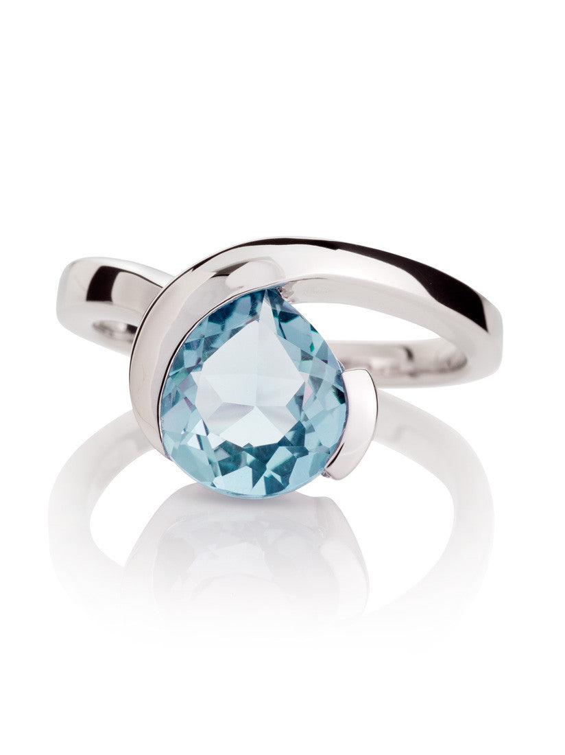 Sensual Blue Topaz Ring by Manja - Art Jewellery Store: Song of Jewellery