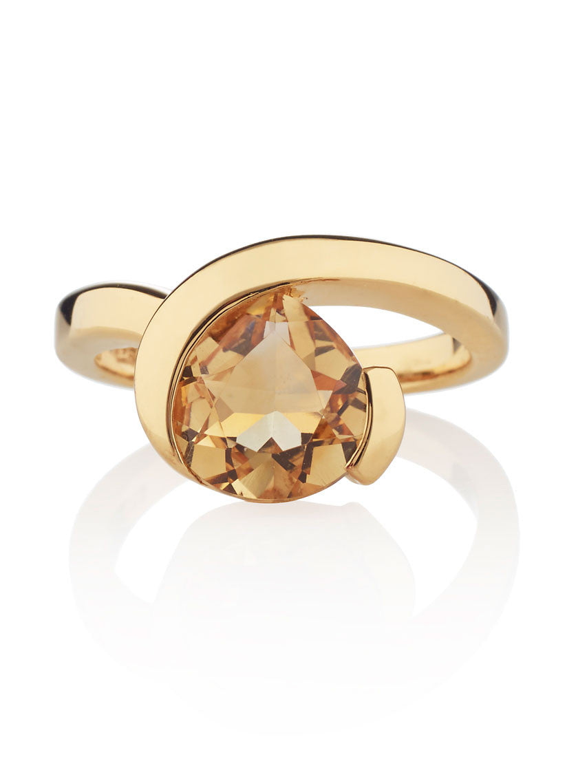 Sensual Gold Citrine Ring by Manja - Art Jewellery Store: Song of Jewellery
