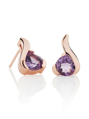 Sensual Rose Gold Amethyst Earrings