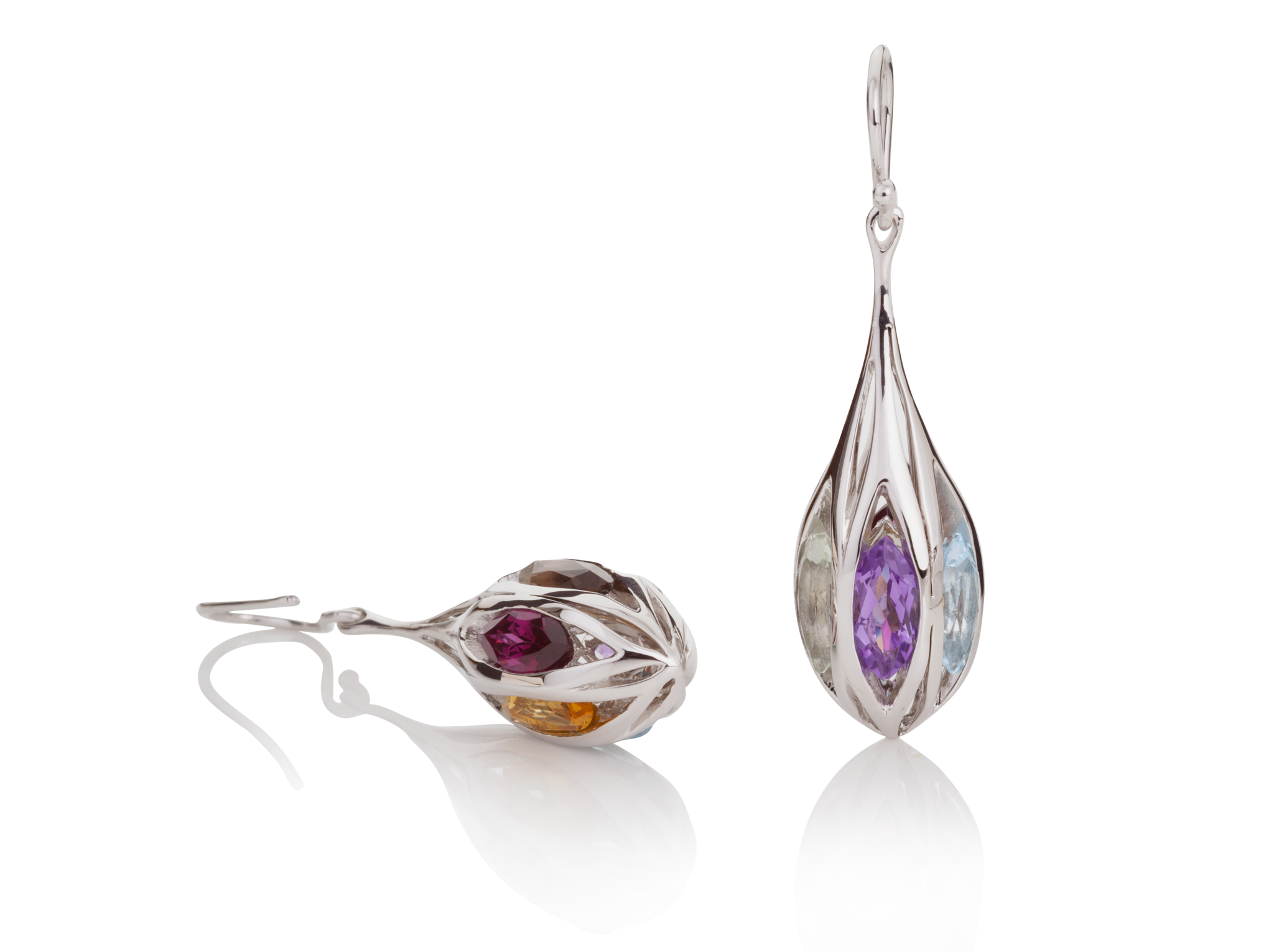 Elegant Gemstone Silver Earrings | Silver Jewellery UK