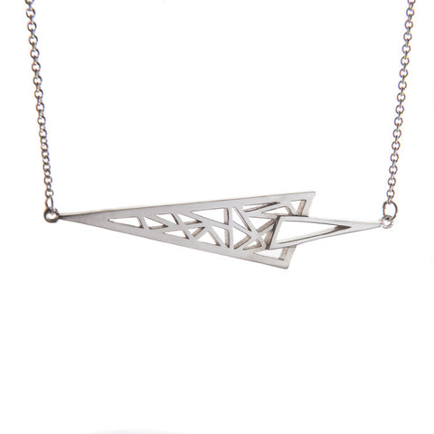 Flare Silver Triangles Necklace