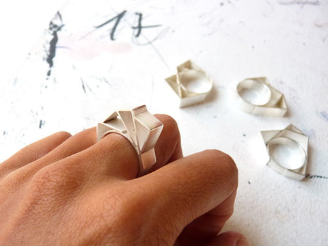 Silver Geometric Ring by Ana Pina - Art Jewellery Store: Song of Jewellery