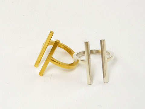 Sophisticated Geometric Ring in Silver or Gold - Articular Collection by Ana Pina - Art Jewellery Store: Song of Jewellery