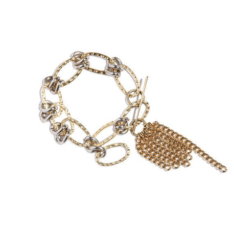 Golden Chain Bracelet With Charm Pendant