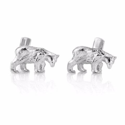 Sterling Silver Bear Cufflinks