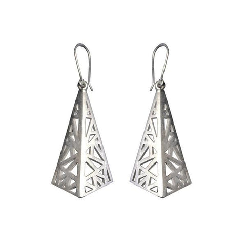 Sterling Silver Geometric Flare Drop Earrings by Miriam Wade - Art Jewellery Store: Song of Jewellery