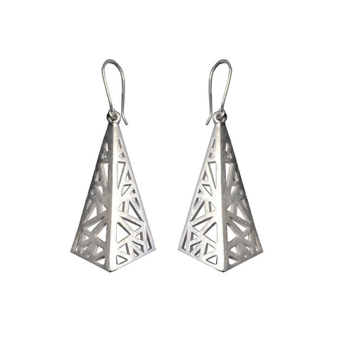 Sterling Silver Geometric Flare Drop Earrings