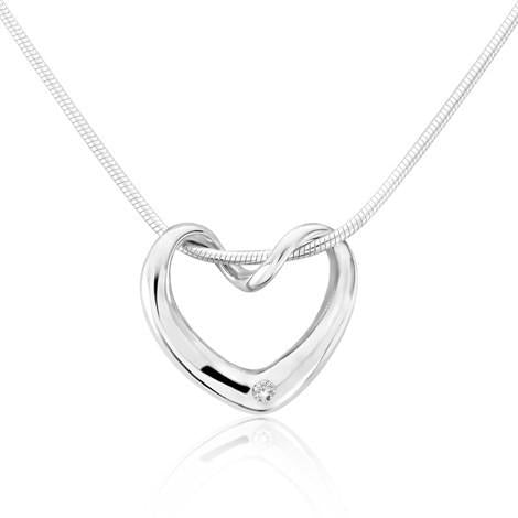 Twisted Heart Pendant With Diamond by Argent London - Art Jewellery Store: Song of Jewellery