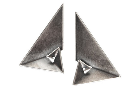 Sterling Silver Geometric Earrings - Golden Ratio III