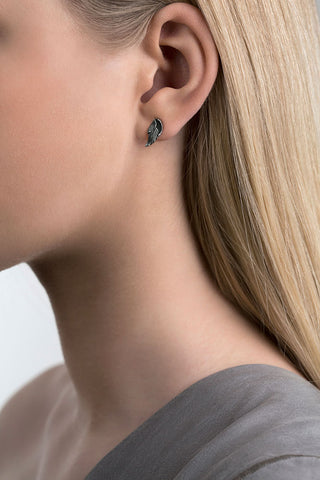 Small Oxidised Silver Swan Feather Ear Studs by Aurum - Art Jewellery Store: Song of Jewellery