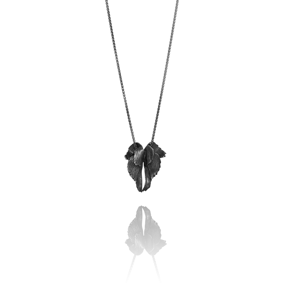 Double Feather Oxidised Silver Necklace by Aurum - Art Jewellery Store: Song of Jewellery