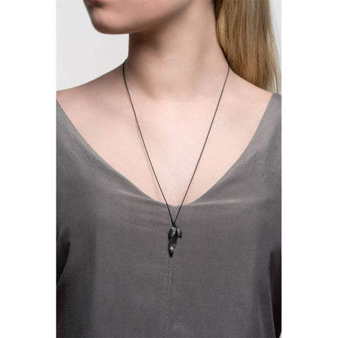 Oxidised Silver Swan Feather Necklace by Aurum - Art Jewellery Store: Song of Jewellery
