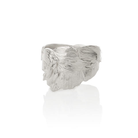 Silver Swan Feathers Ring