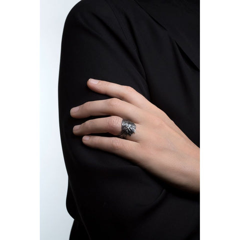 Oxidised Silver Swan Feathers Ring by Aurum - Art Jewellery Store: Song of Jewellery